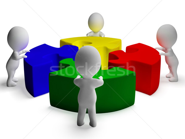 Puzzle Solved And 3d Characters Showing Unity And Cooperation Stock photo © stuartmiles