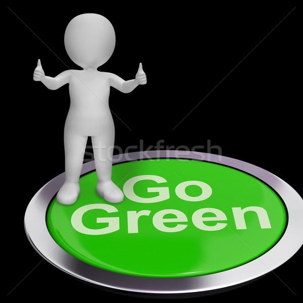 Zöld gomb újrahasznosítás természet bolygó Stock fotó © stuartmiles