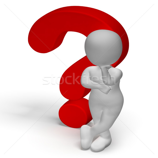 Vraagtekens man verwarring tonen vraag Stockfoto © stuartmiles