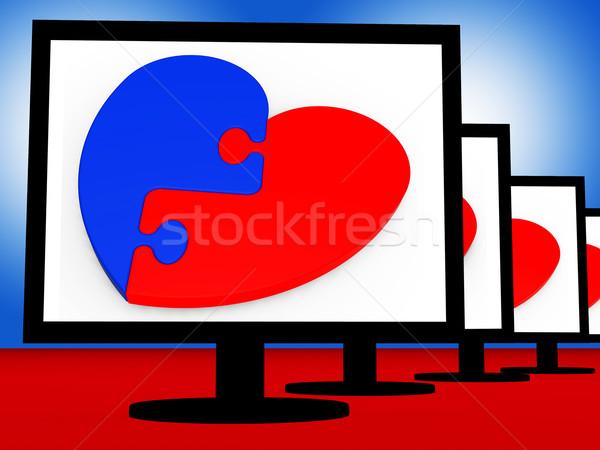 Stock fotó: Szív · romantikus · szeretet · képernyő · törött · törődés