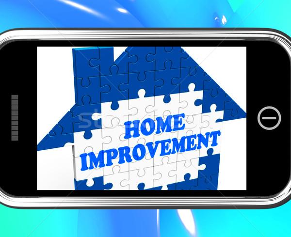 Lakásfelújítás okostelefon beszállító telefon internet terv Stock fotó © stuartmiles