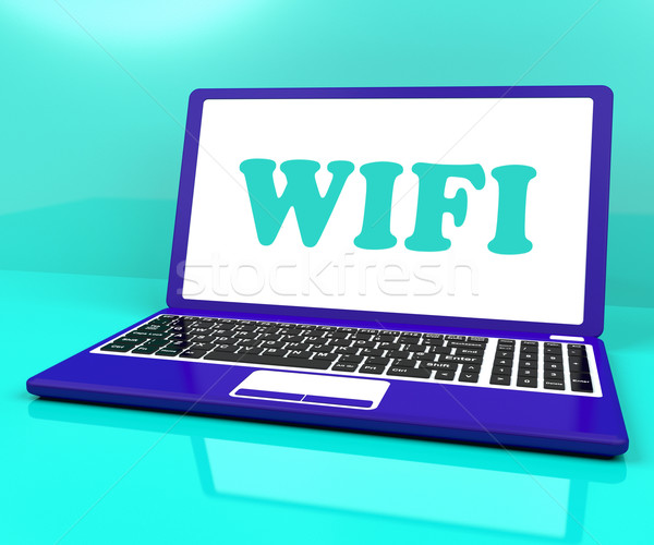 Wifi Laptop Shows Hotspot Wi-fi Access Or Connection Stock photo © stuartmiles