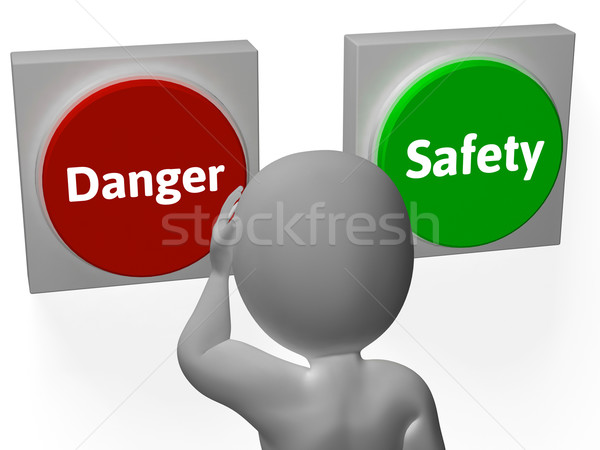 Danger Safety Buttons Show Protection Or Warning Stock photo © stuartmiles