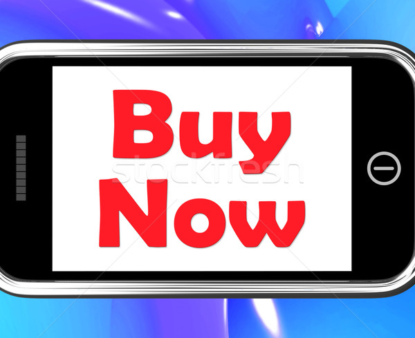 Stock photo: Buy Now On Phone Shows Purchasing And Online Shopping