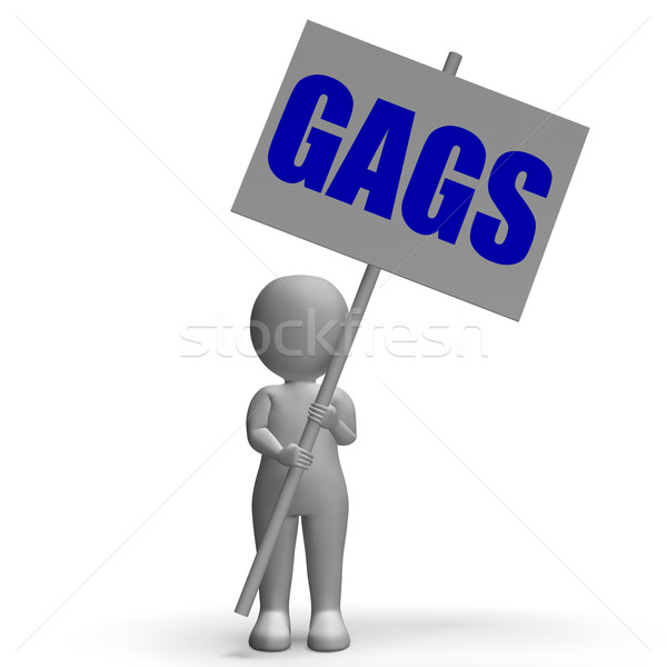 Gags Protest Banner Means Laughs And Humorous Protest Stock photo © stuartmiles