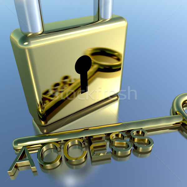 Padlock With Access Key Showing Permission Security And Login Stock photo © stuartmiles