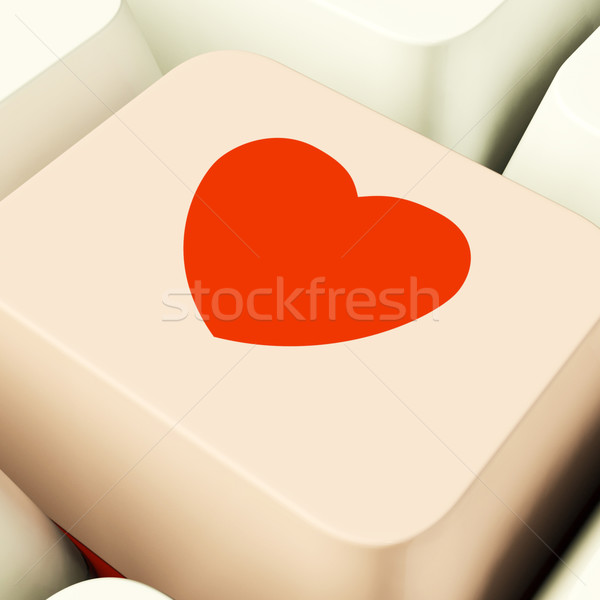 Heart Icon On Pink Computer Key Showing Love And Romance For Val Stock photo © stuartmiles