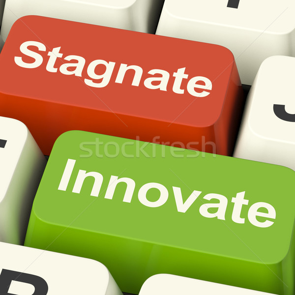 Stagnate Innovate Computer Keys Showing Choice Of Growth And Adv Stock photo © stuartmiles
