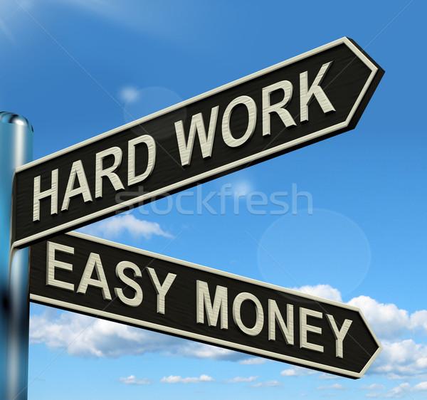 Stock fotó: Kemény · munka · könnyű · pénz · útjelző · tábla · mutat · üzlet