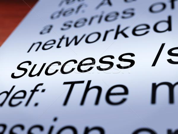 Stockfoto: Succes · definitie · tonen · financiële · visie