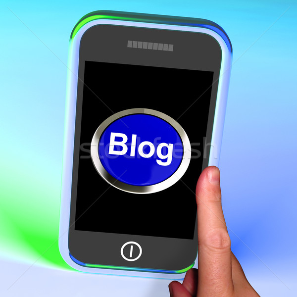 Blog bouton mobiles blogger blogging site Photo stock © stuartmiles
