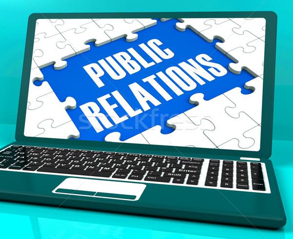 Public Relations On Laptop Shows Online Press Stock photo © stuartmiles