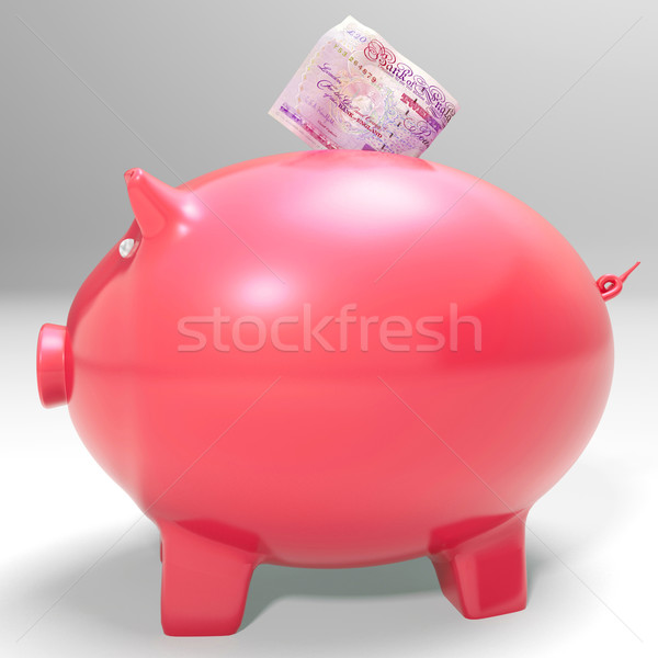 Money Entering Piggybank Shows Saving Incomes Stock photo © stuartmiles