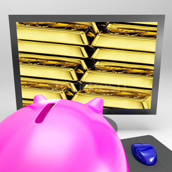 Gold Bars Screen Shows Shiny Valuable Treasure Stock photo © stuartmiles