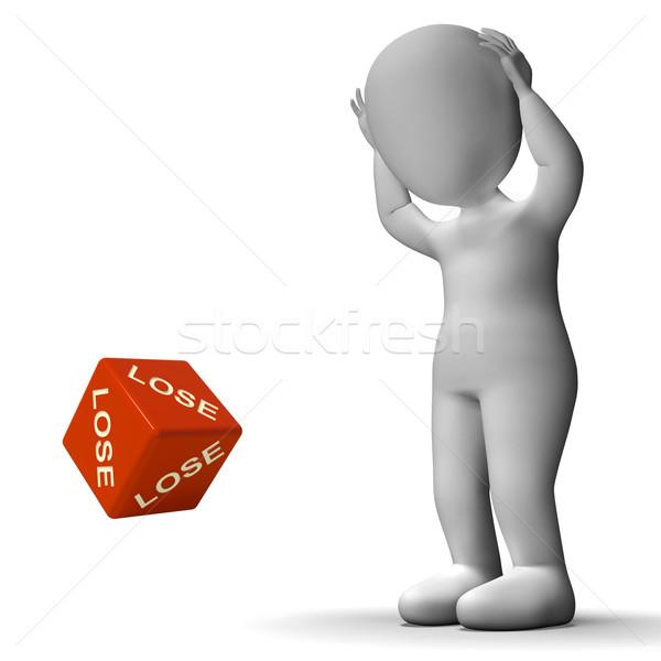 Verliezen dobbelstenen nederlaag mislukking verlies spel Stockfoto © stuartmiles