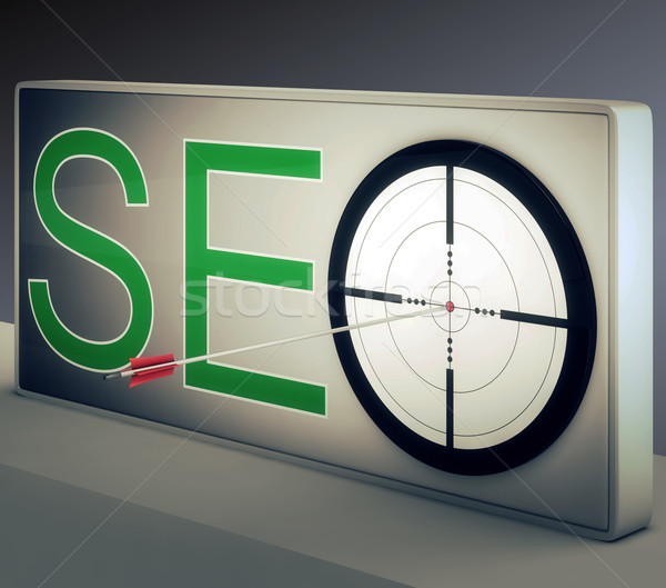 Seo Target Promotes Website And Internet Marketing Stock photo © stuartmiles