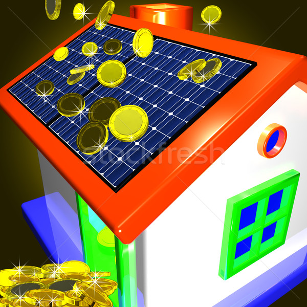 Coins Falling On House Showing Money Saving Or Monetary Advantag Stock photo © stuartmiles