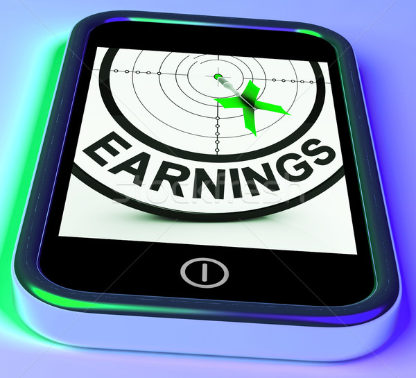 Earning On Smartphone Showing Profitable Incomes Stock photo © stuartmiles