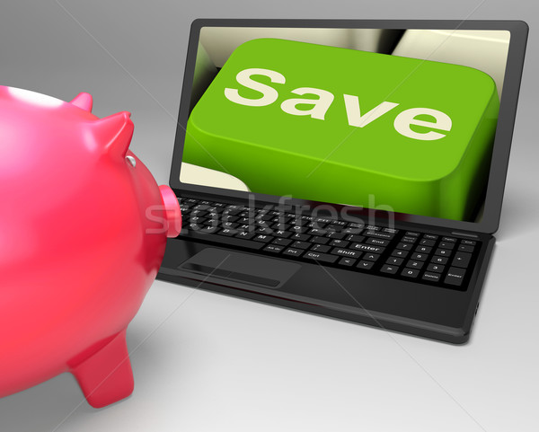 Stock photo: Save Key On Laptop Showing Price Reductions