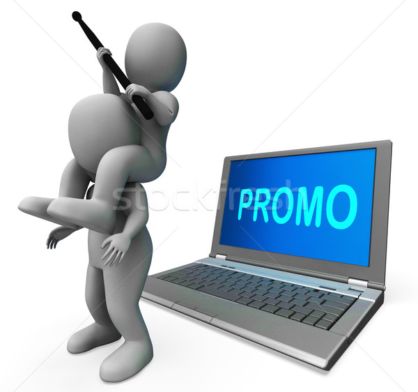 Promo Character Computer Shows Promotion Discounts And Reduction Stock photo © stuartmiles