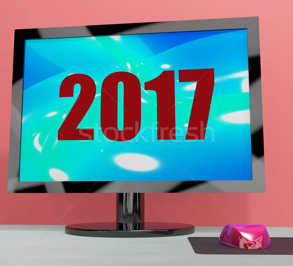 Two Thousand And Seventeen On Monitor Shows Year 2017 Stock photo © stuartmiles