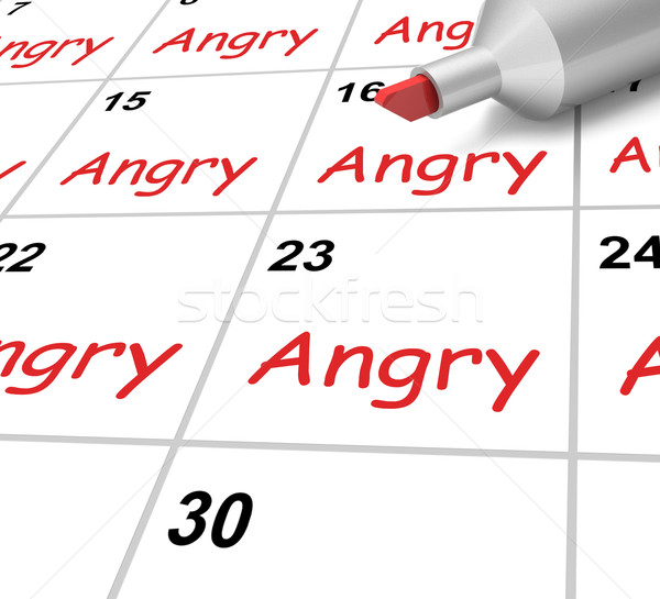 Angry Calendar Shows Mad Furious Or Resentful Stock photo © stuartmiles