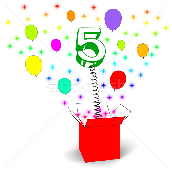 Number Five Surprise Box Means Surprise Party Or Festivity Stock photo © stuartmiles