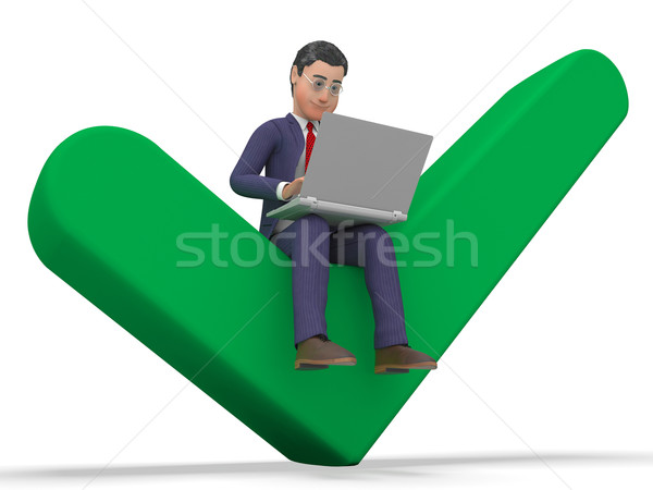 Successful Businessman Represents World Wide Web And Approved Stock photo © stuartmiles