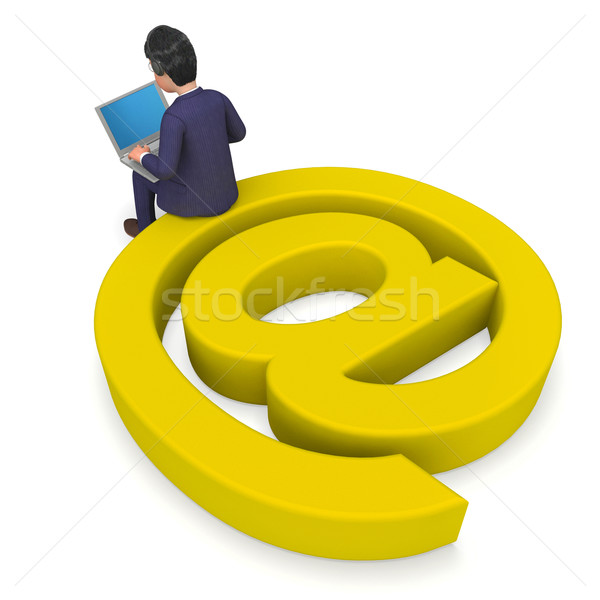 Businessman Working Online Represents World Wide Web And Correspondence Stock photo © stuartmiles