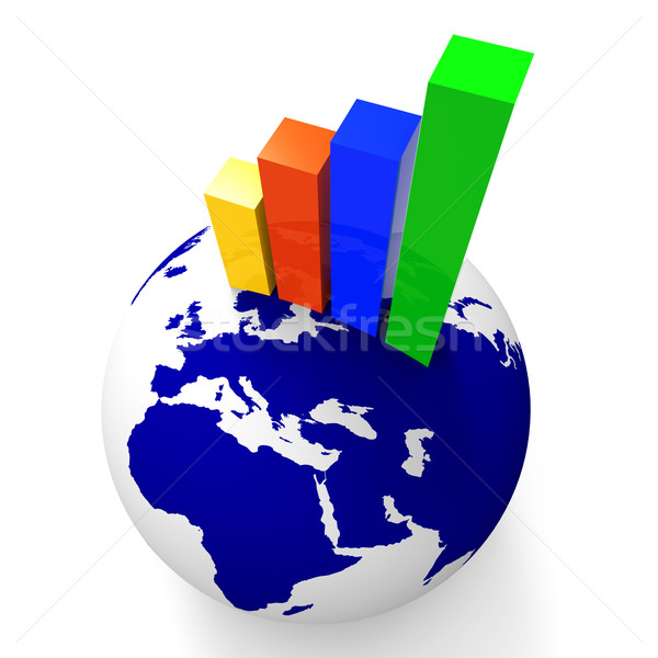 Increase Graph Worldwide Shows Graphics Globe And Statistic Stock photo © stuartmiles