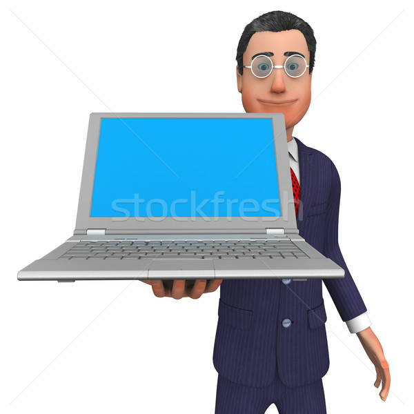Businessman Presenting Shows Empty Space And Blank Stock photo © stuartmiles