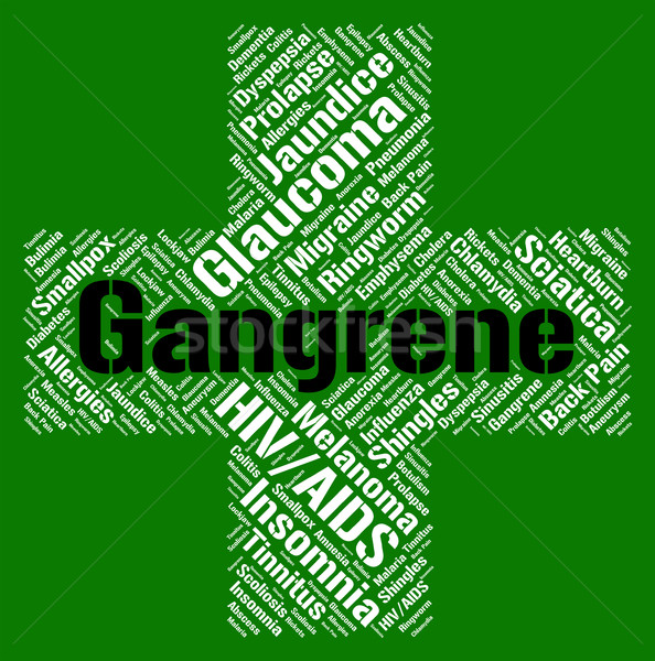 Gangrene Word Shows Poor Health And Gangrenous Stock photo © stuartmiles