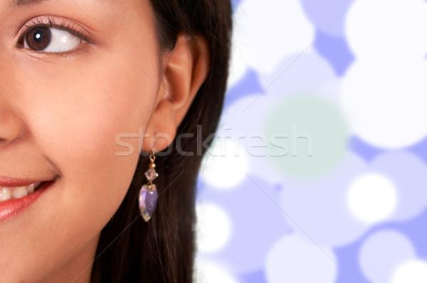Uśmiechnięty dziewczyna światła niebieski lata młodych Zdjęcia stock © stuartmiles