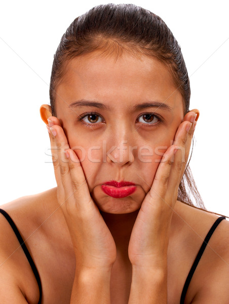 Сток-фото: девушки · полный · горе · грусть · чувство · расстраивать