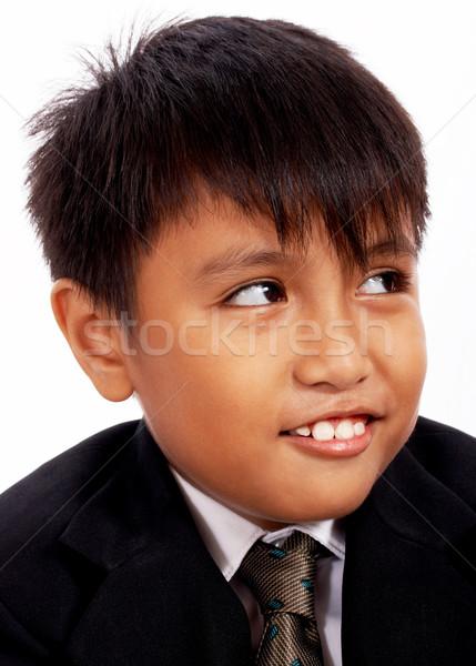 Glimlachend jongen zwart pak formeel jas speciale gelegenheid Stockfoto © stuartmiles