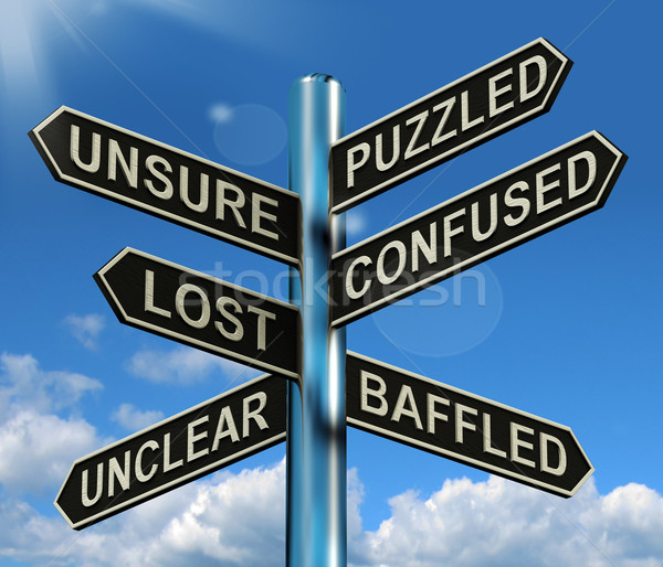 Puzzled Confused Lost Signpost Showing Puzzling Problem Stock photo © stuartmiles