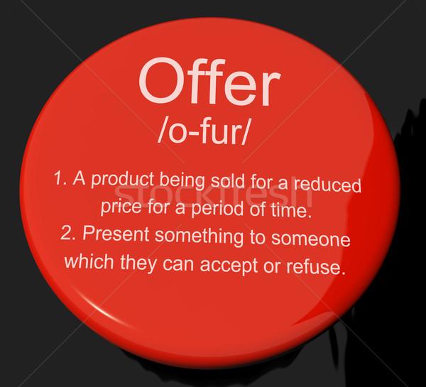 Bieden definitie knop tonen verkoop opslaan Stockfoto © stuartmiles
