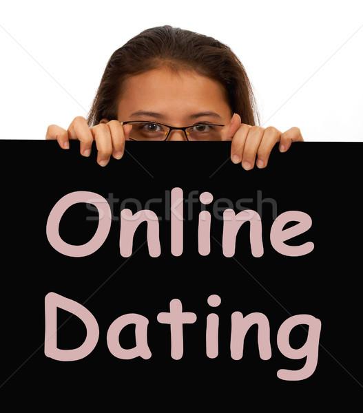 Online Dating Sign Showing Web Romance Stock photo © stuartmiles