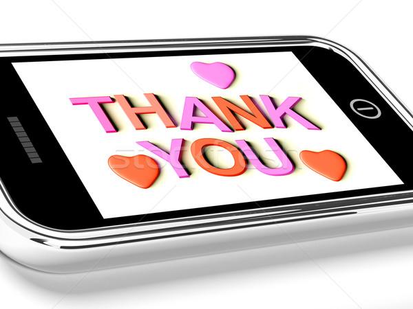 Сток-фото: спасибо · сердцах · сообщение · спасибо · мобильных · мобильного · телефона