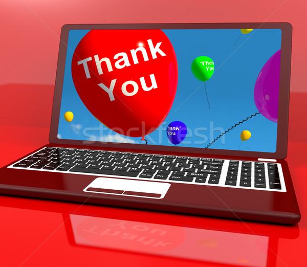 Merci ballon ordinateur ligne remerciements un message Photo stock © stuartmiles