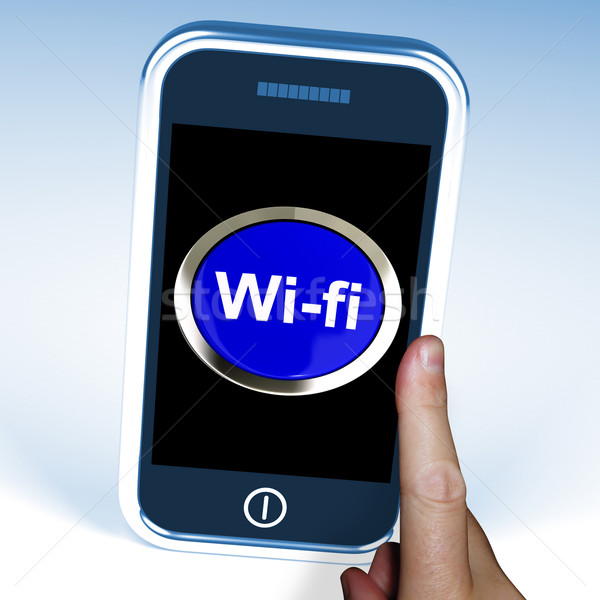 Wifi Button On Mobile Shows Hotspot Or Internet Connection Stock photo © stuartmiles