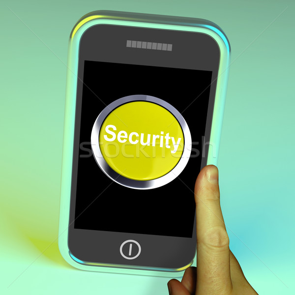 Security Button On Mobile Shows Encryption And Safety Stock photo © stuartmiles