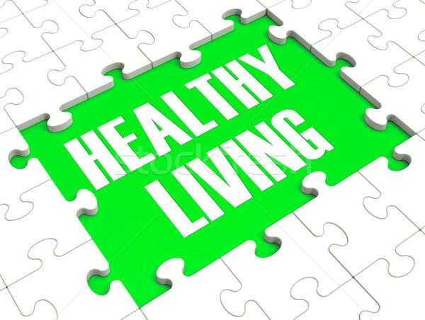 Gezond leven puzzel tonen gezonde voeding oefening Stockfoto © stuartmiles