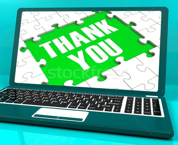 Dank u laptop waardering dankbaarheid Stockfoto © stuartmiles