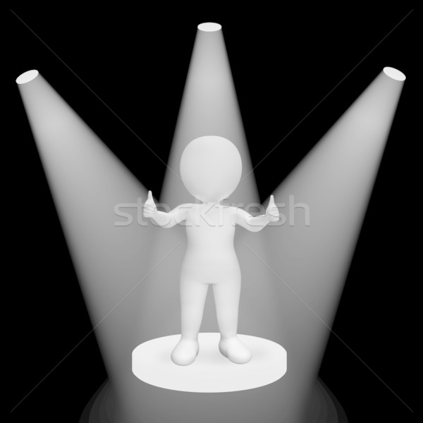 White Spotlights On Thumbs Up Character Showing Fame And Perform Stock photo © stuartmiles
