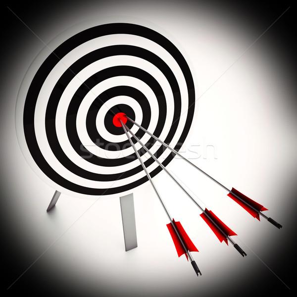 Arrows On Dartboard Shows Perfect Strategy Stock photo © stuartmiles