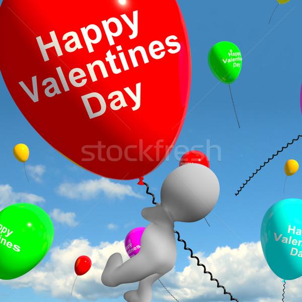 Gelukkig valentijnsdag ballonnen tonen liefde genegenheid Stockfoto © stuartmiles