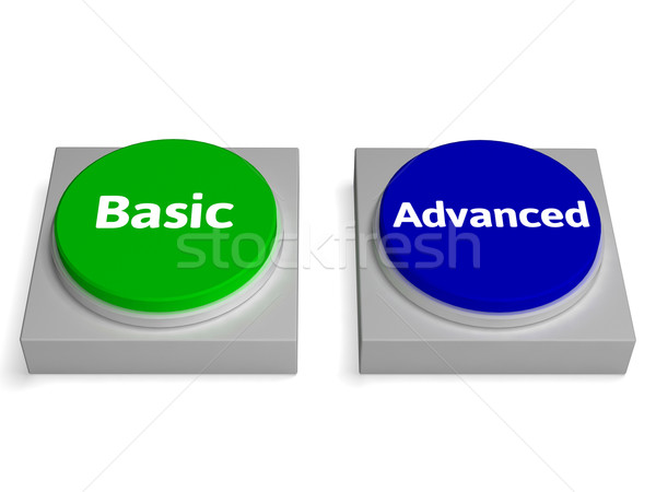 Basic Advanced Buttons Shows Version Or Features Stock photo © stuartmiles