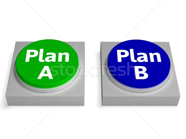Plan b düğmeler karar strateji plan Stok fotoğraf © stuartmiles