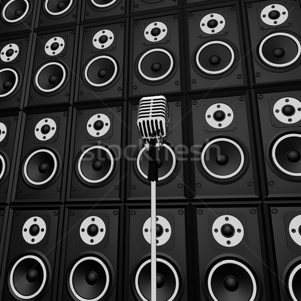 Microphone And Loud Speakers Shows Music Industry Performing Or  Stock photo © stuartmiles